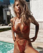 Orange rage sexy snakeskin print split swimsuit straps bikini