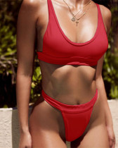 Red solid color wide bandage sexy bikini