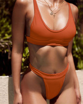 Orange solid color wide bandage sexy bikini