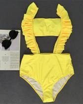 Yellow Ruffle swimsuit female high waist sexy bikinii