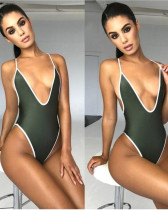 Army green Euro-American V-neck sexy high elastic solid color one-piece swimsuit