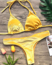 Solid color swimsuit sexy gold velvet nice bikini