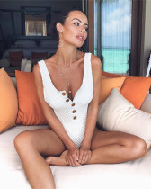 White Grid Solid Button Sexy One-Piece Swimsuit