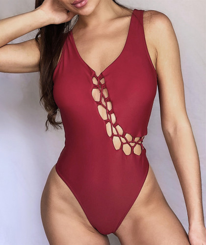 Red Chest cross strap swimsuit one-piece bikini