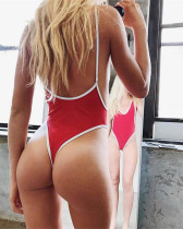 Red Euro-American V-neck sexy high elastic solid color one-piece swimsuit