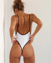 White Euro-American V-neck sexy high elastic solid color one-piece swimsuit
