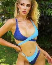 Blue Paneled Bikini Faux Denim Swimsuit