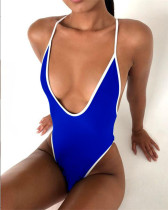Blue Euro-American V-neck sexy high elastic solid color one-piece swimsuit