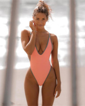 Pink Euro-American V-neck sexy high elastic solid color one-piece swimsuit