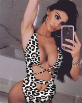 Black leopard print strappy one-piece swimsuit