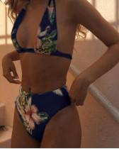 Deep blue Foreign trade positioning printed high waist split bikini bikini