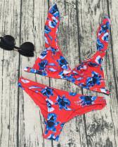 Red Printed bikini ruffled swimsuit