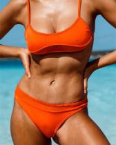 Orange Mesh stitching bikini