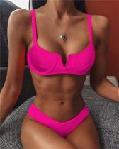 Rose red Bikini v-neck