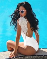 White Solid Color Angel Wings One Piece Swimsuit Bikini