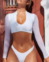 White long sleeve mesh bikini bikini one-piece swimsuit