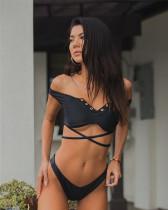 Split black swimsuit