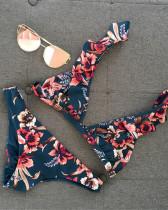 Blue Printed bikini ruffled swimsuit