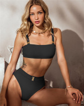 Black Solid color high waist swimsuit