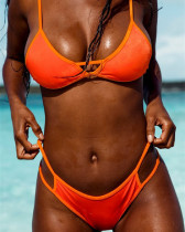 Orange Solid color stitching bikini