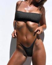 Black special fabric dot print sexy bikini