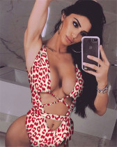Red leopard print strappy one-piece swimsuit