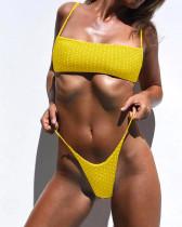 Yellow special fabric dot print sexy bikini