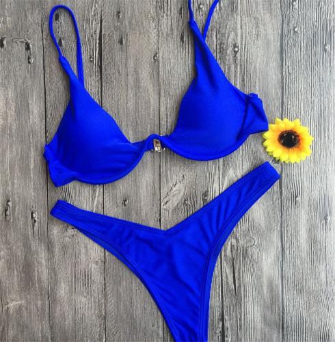 Blue Personality Gathering Sexy Underwire Wonderful Bikini