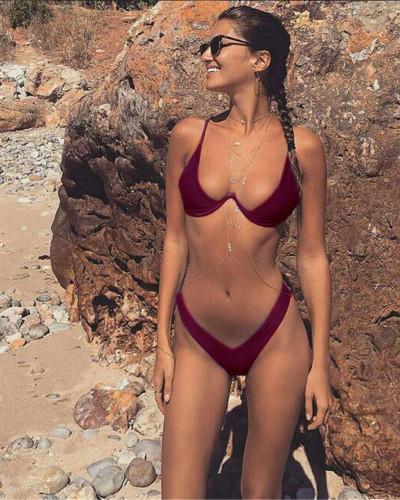Red Wine Personality Gathering Sexy Underwire Wonderful Bikini