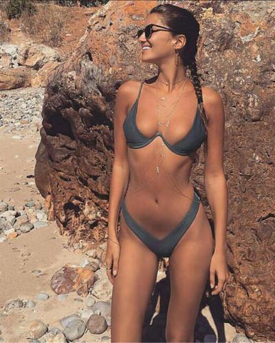 Grey Personality Gathering Sexy Underwire Wonderful Bikini