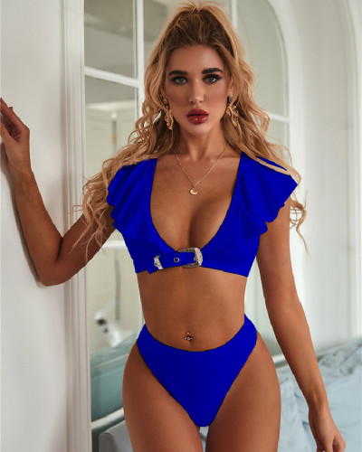 Blue  sexy special metal buckle ruffled V neck split bikini set