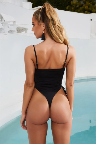 Black  Sexy Lace Up Solid Color Bandageless Swimsuit One Piece Bikini