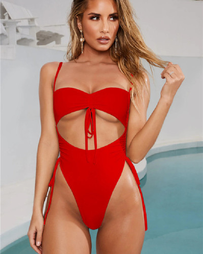 Red Sexy Lace Up Solid Color Bandageless Swimsuit One Piece Bikini