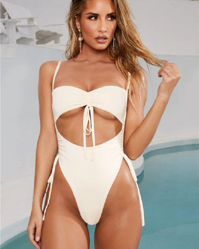 White Sexy Lace Up Solid Color Bandageless Swimsuit One Piece Bikini