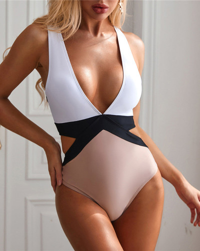 White&Khaki sexy deep V stitching strap solid color one-piece bikini