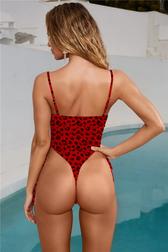 Red Leopard  Sexy Lace Up Solid Color Bandageless Swimsuit One Piece Bikini