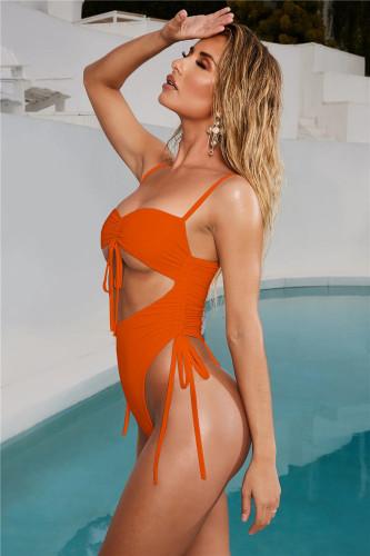 Orange Sexy Lace Up Solid Color Bandageless Swimsuit One Piece Bikini
