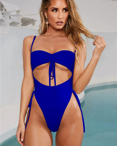 Blue  Sexy Lace Up Solid Color Bandageless Swimsuit One Piece Bikini