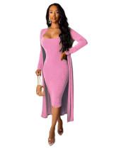 Pink Sexy deep V women's skirt coat two-piece
