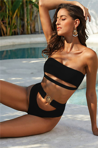 Black Exquisite Metal Buckle Swimsuit Tube Top Strapless Bandage Sexy Bikini