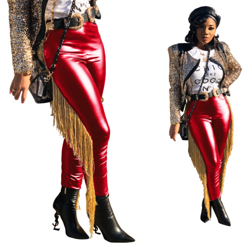 Red Fashion Women's Side Fringe Casual Pants