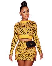 2020 Hot Sale Leopard Split Knit Mini Skirt