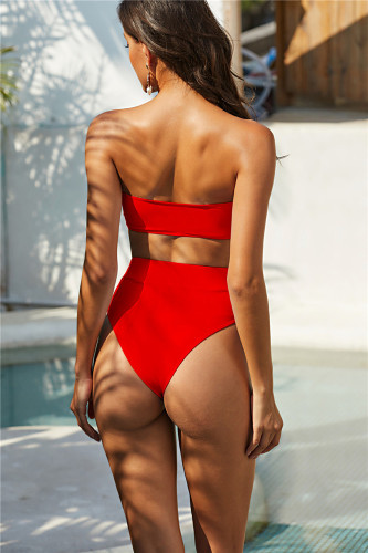Red Exquisite Metal Buckle Swimsuit Tube Top Strapless Bandage Sexy Bikini