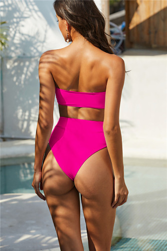 Pink Exquisite Metal Buckle Swimsuit Tube Top Strapless Bandage Sexy Bikini