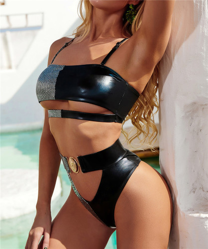 Crocodile texture Exquisite Metal Buckle Swimsuit Tube Top Strapless Bandage Sexy Bikini