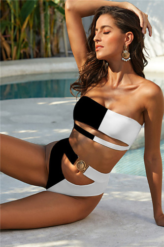 Black&White Exquisite Metal Buckle Swimsuit Tube Top Strapless Bandage Sexy Bikini