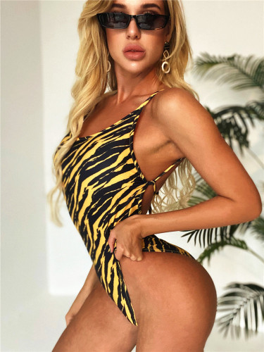 Lace-up back swimsuit one-piece