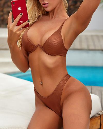 Brown sexy swimsuit bright color nylon stretch strap split bikini