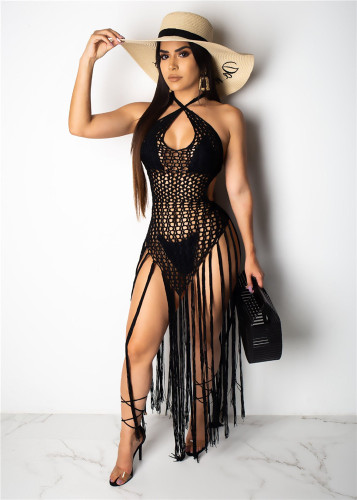 Black summer sale Amazon sexy long fringed weave perspective beach skirt