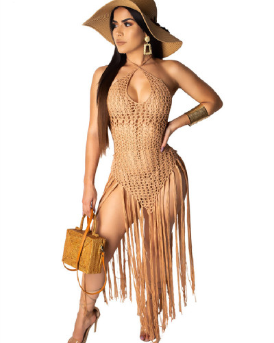 Khaki summer sale Amazon sexy long fringed weave perspective beach skirt